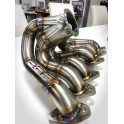 2JZ stainless manifold with billet collector.
